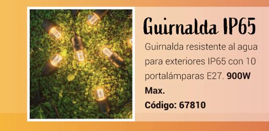 Guirnalda IP65 con 10 portalámparas E27 para exteriores