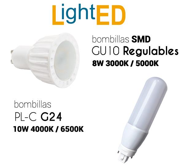 Nuevas bombillas LED en diciembre de 2019: GU10 LED SMD Regulable de 8W y PL-C LED de 10W
