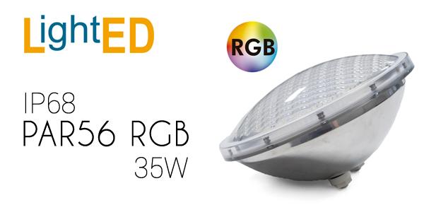 Par56 RGB de 35W con IP68 para piscinas